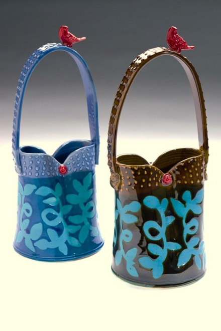 Bird Bucket Vases